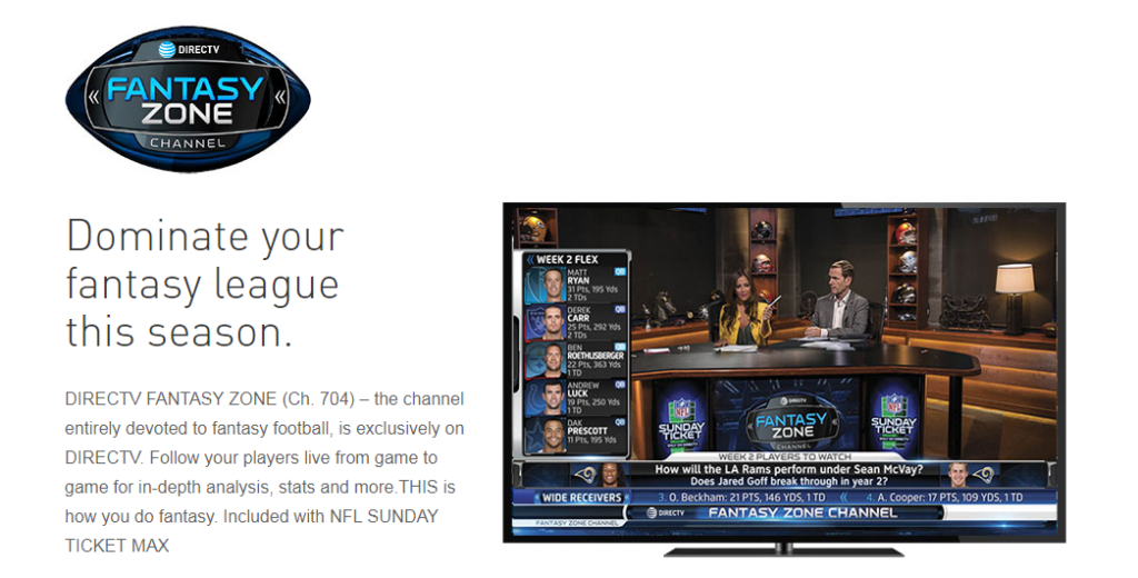 DIRECTV NFL Fantasy Zone Channel for Business