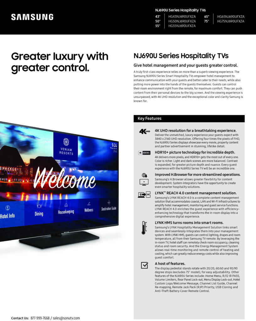 Hotel TVs | Samsung NJ690U Series Displays | 877-999-7668