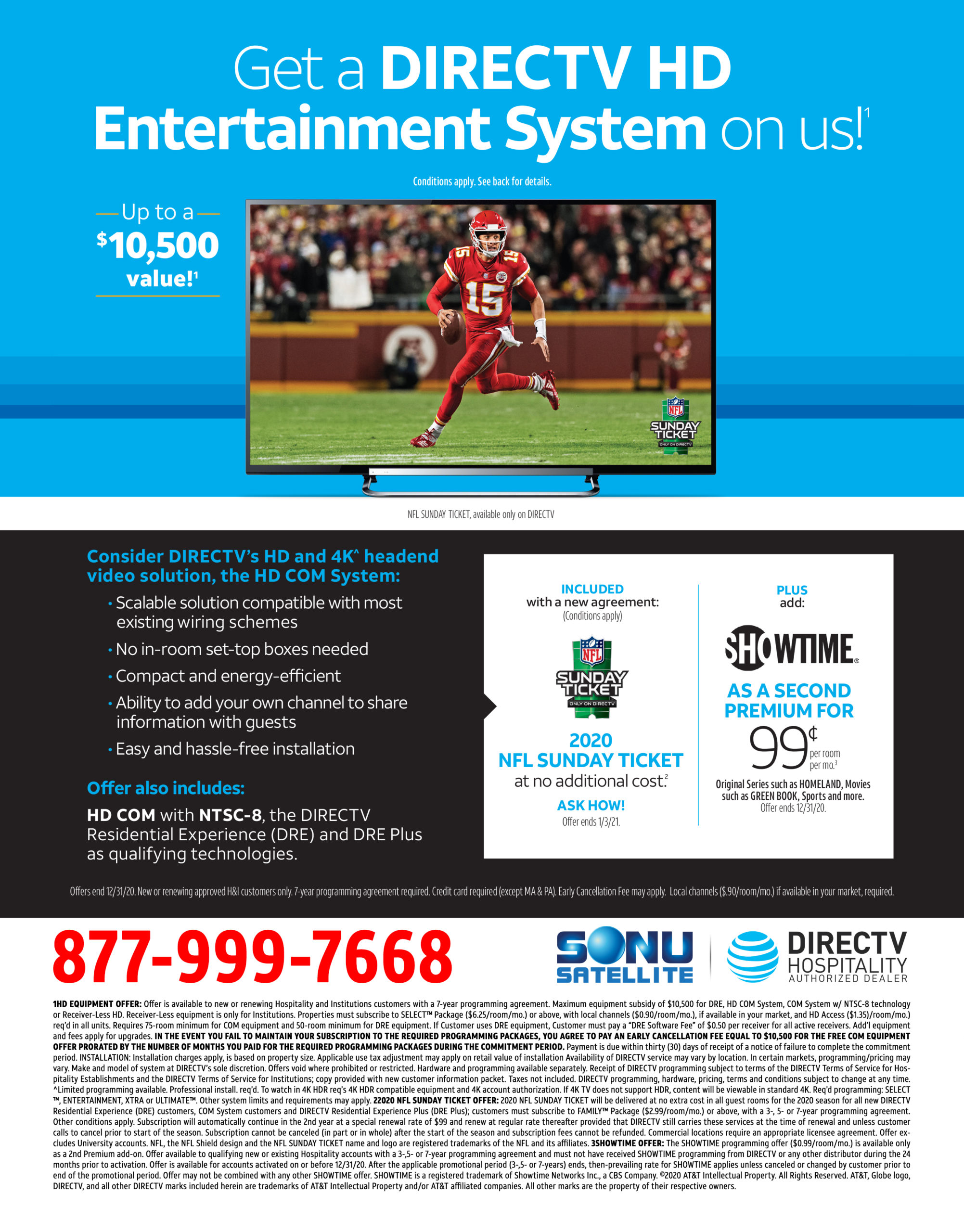 DIRECTV for Hotels 75 Room 2020 Free Equipment Promotion
