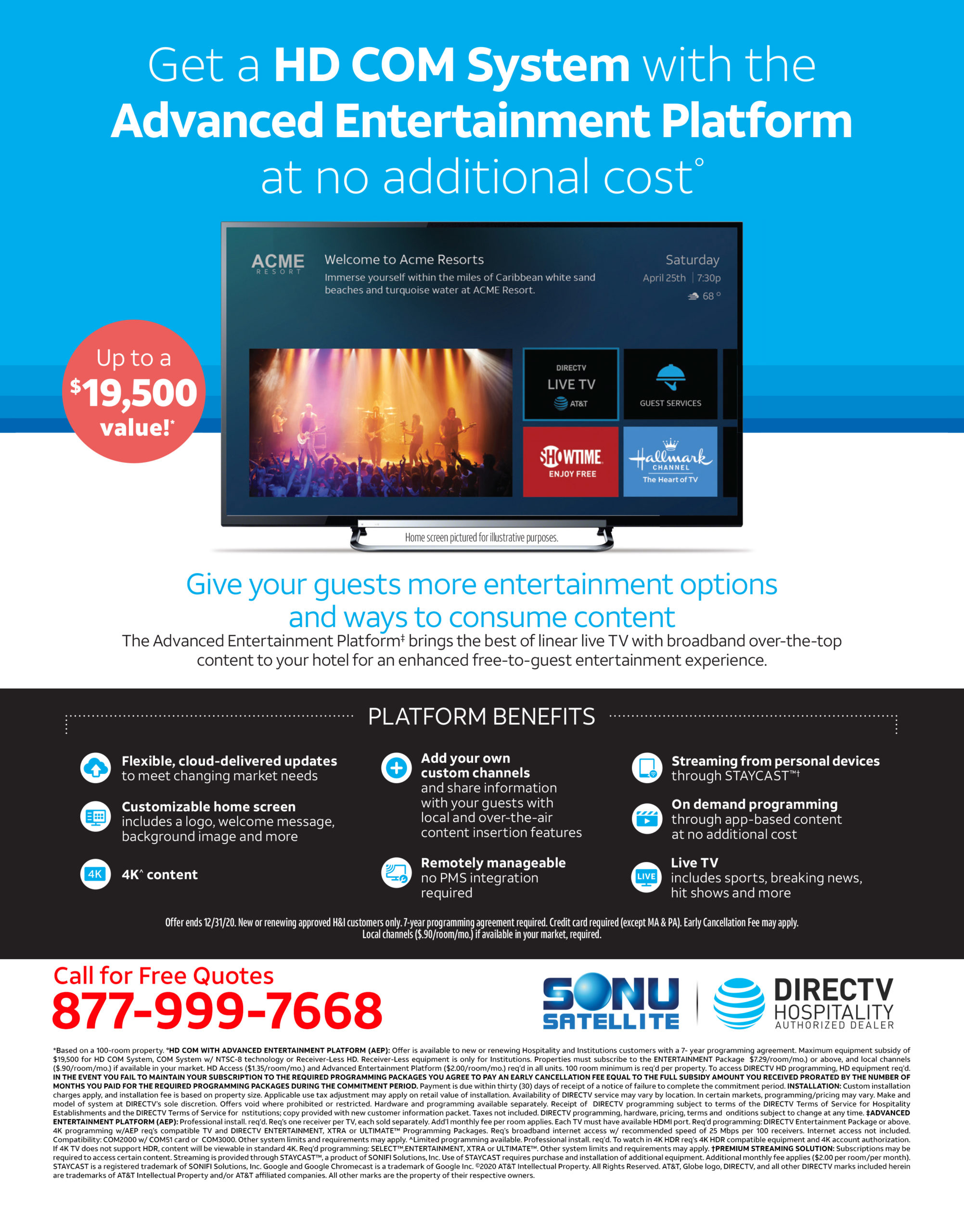 DIRECTV for Hotels 2020 Free Equipment Promotion