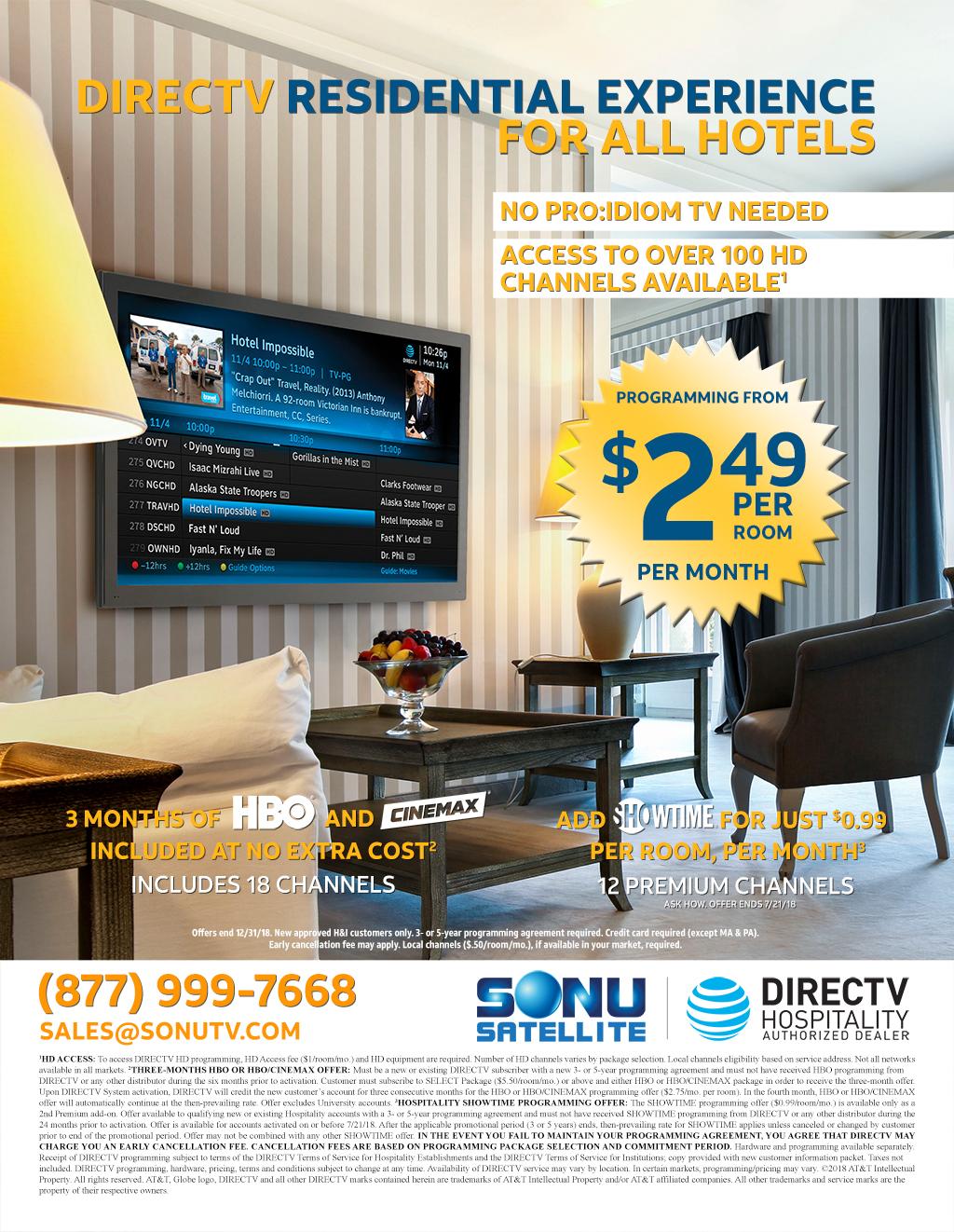 DIRECTV for Hospitality DRE TV for Business 2018